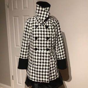 Plaid Turtle Neck Double Breast Jacket Coat Casual